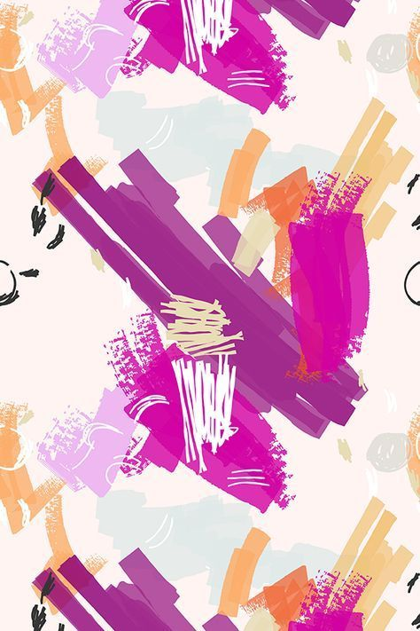 Fabric Abstract scribbles purple orange and light pink