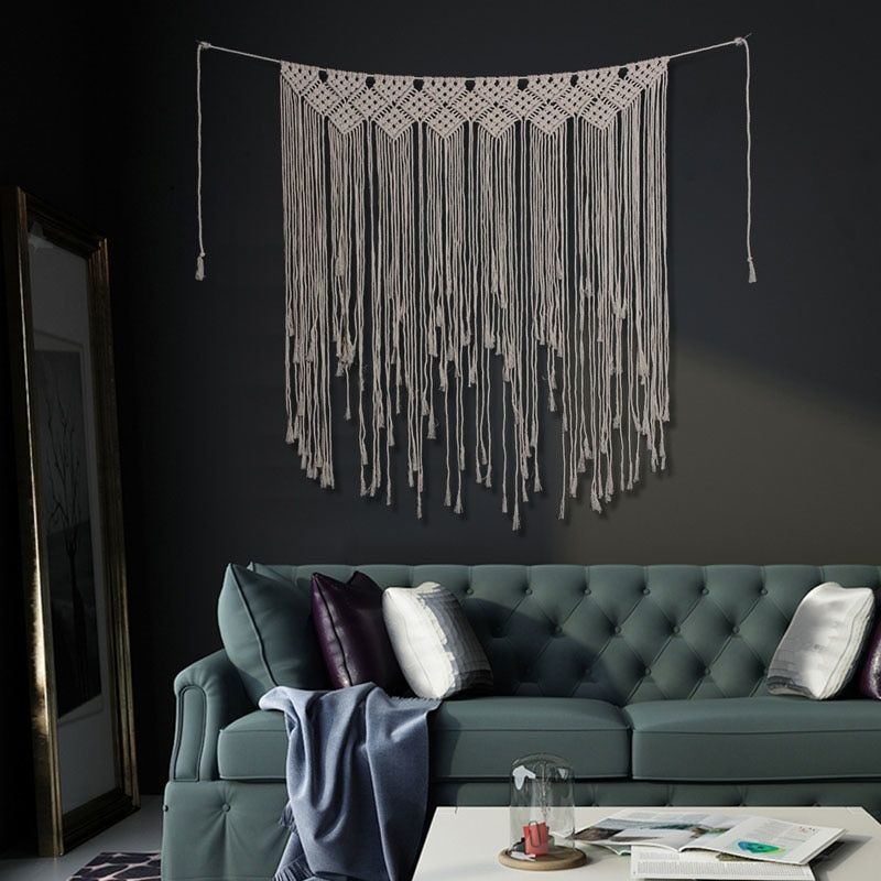 Macrame Wall Art Hand-made Dyed Cotton Wall Hanging Tapestry And Lace Fabric Bohemia Tassel Boho Home Decor Home Decoration Home