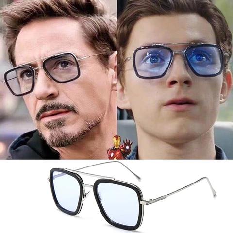 Tony Stark Glasses Retro Designer Brown Iron Man Glasses Glasses Tony Stark Mens Glasses