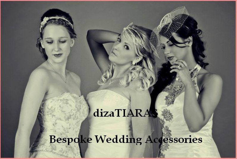 Models wearing 3 of my tiaras. From right to left the tiaras are called, Guilia tiara in pearl and russian veiling, May tiara and Pearl tiara