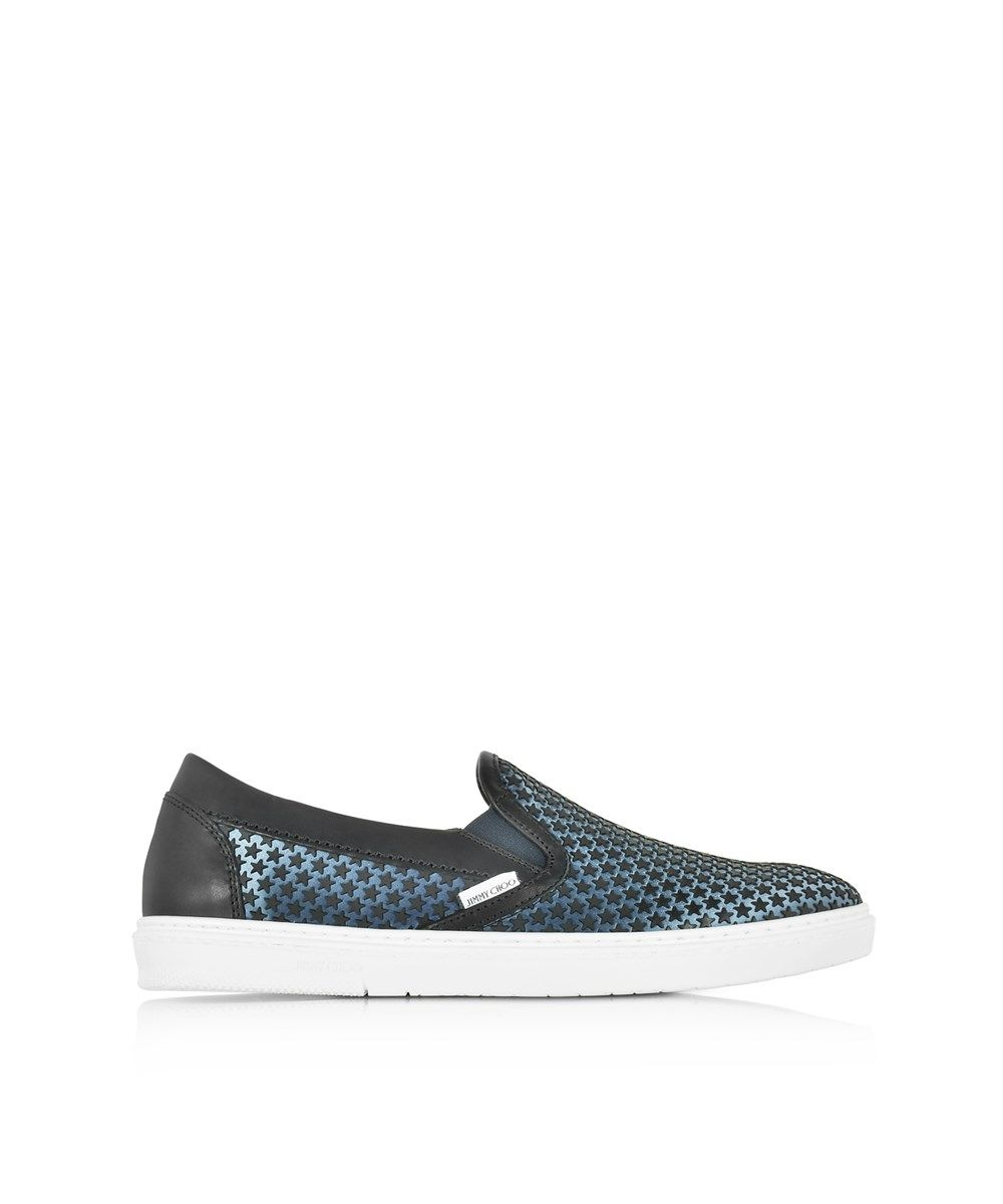 Sneaker slip on Grove satin leather rubber black stars embellished Jimmy Choo London QBJjl