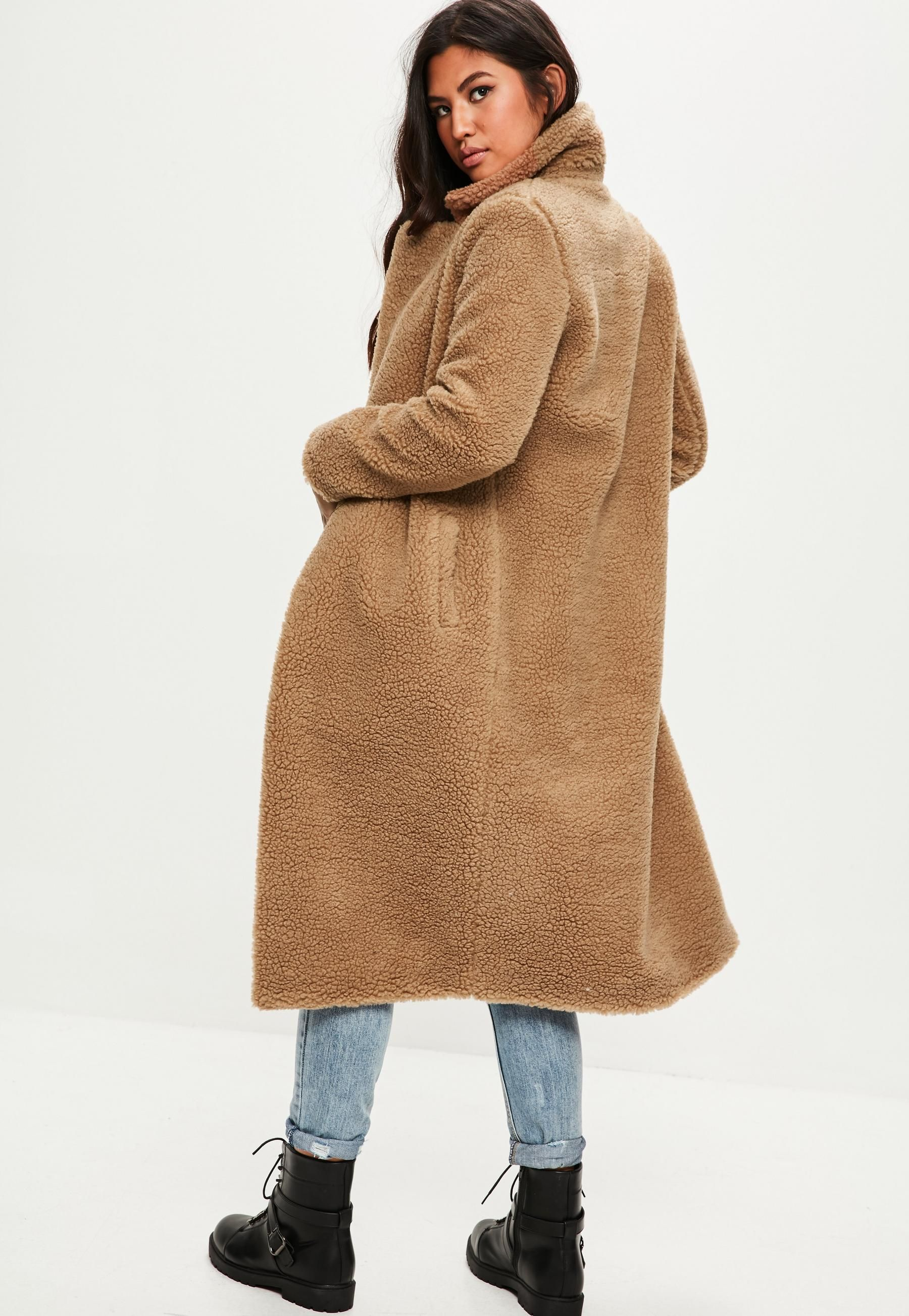 enjoy bottom price sale online soft and light Tan Borg Teddy Coat | Missguided | Teddy Bear Coat I want in ...