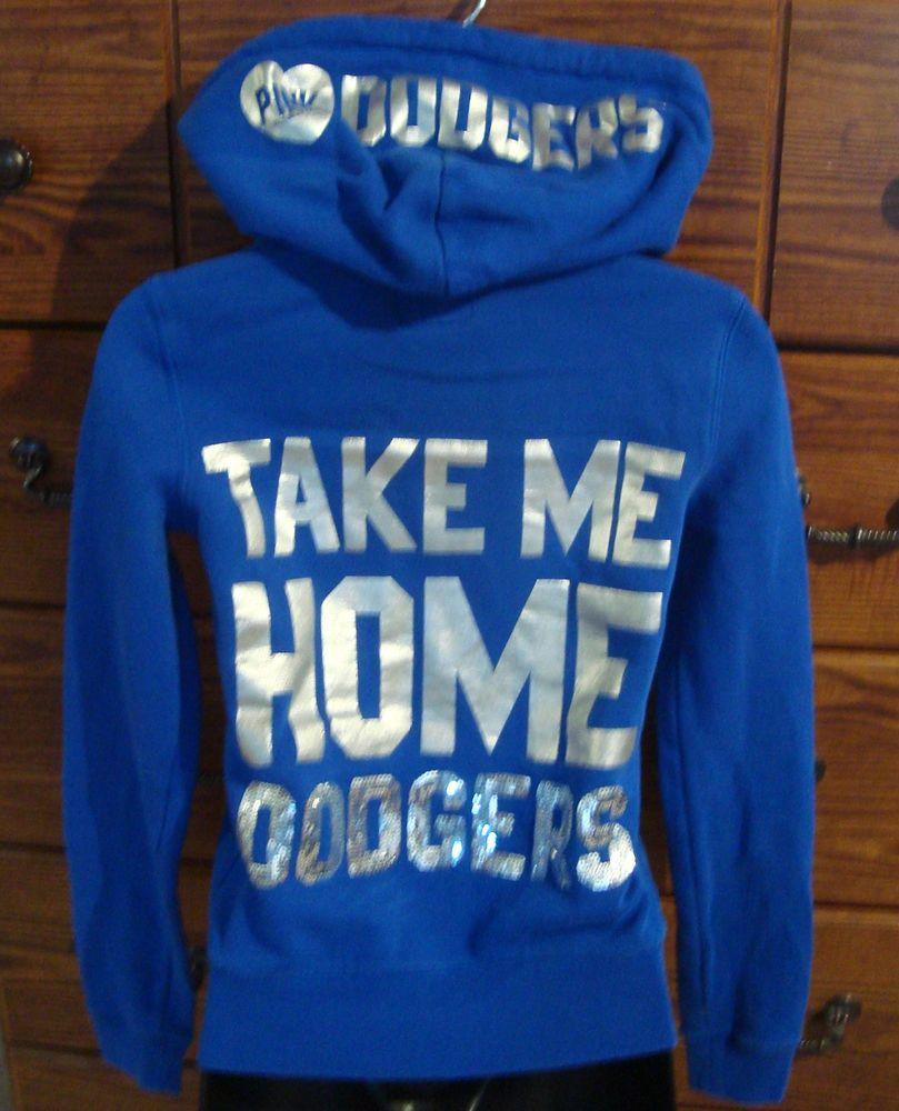 LA Dodgers Victoria Secret LOVEPINK Royal Blue BLING Hoodie Size XS..bid for $9.99!