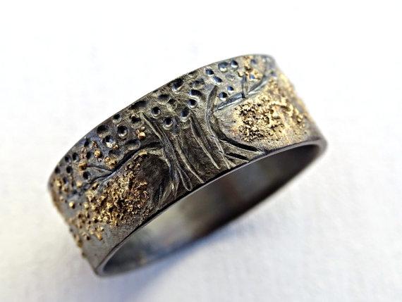 Unique Viking Ring Celtic Wedding Band Tree Of Life Ring Etsy Celtic Wedding Bands Black Rings Celtic Wedding Rings