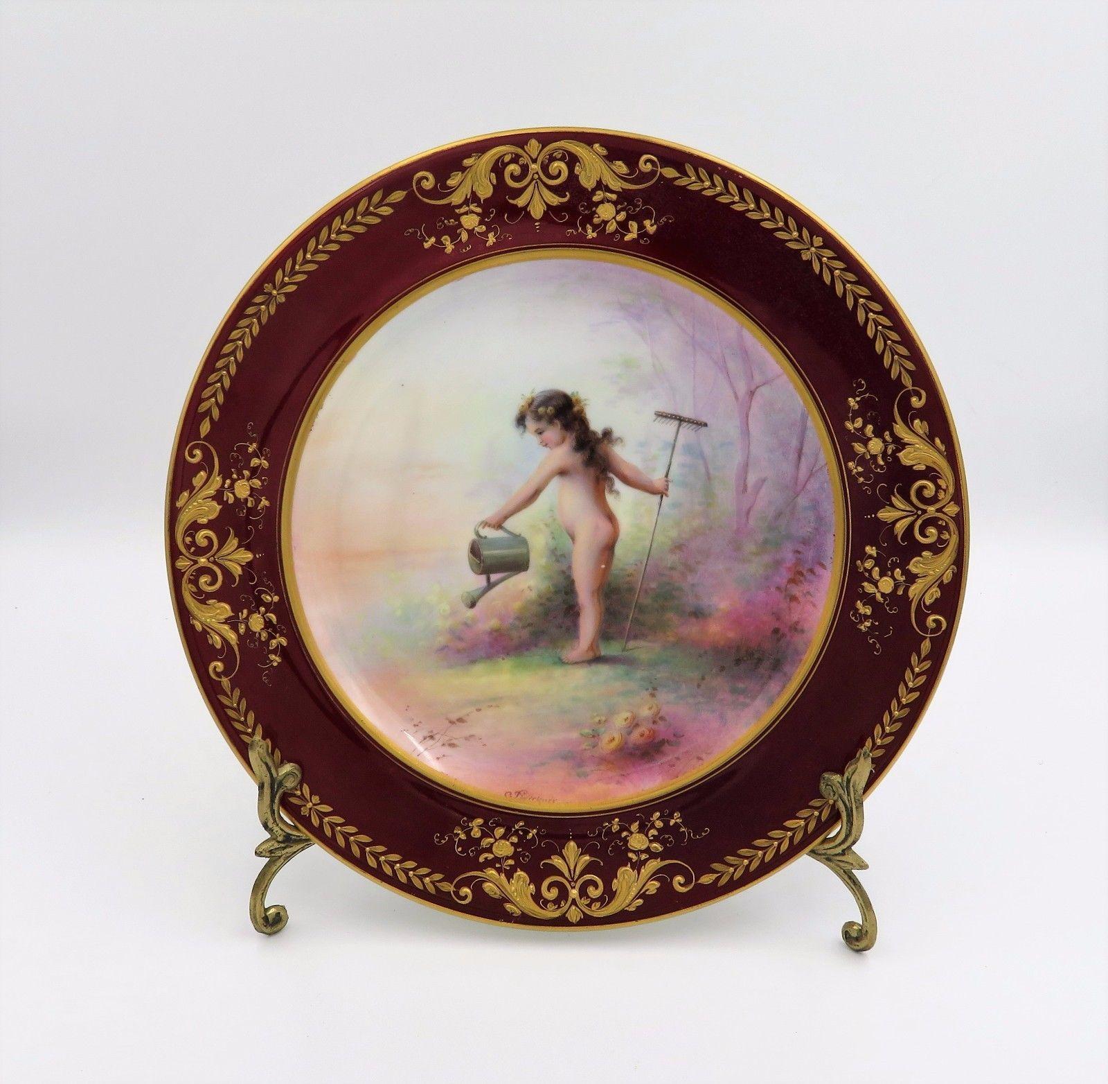 Exquisite antique aynsley hp by sigmund wirkner 10\  heavy gilt cabinet plate & Exquisite antique aynsley hp by sigmund wirkner 10\