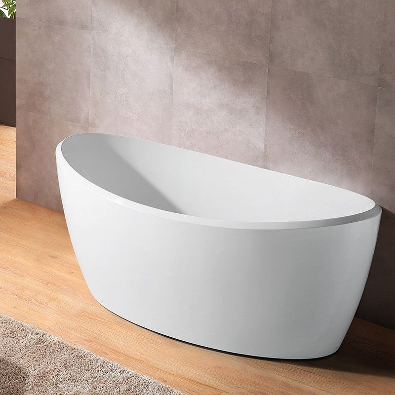 67 White Oval Freestanding Soaking Bathtub High Gloss Acrylic