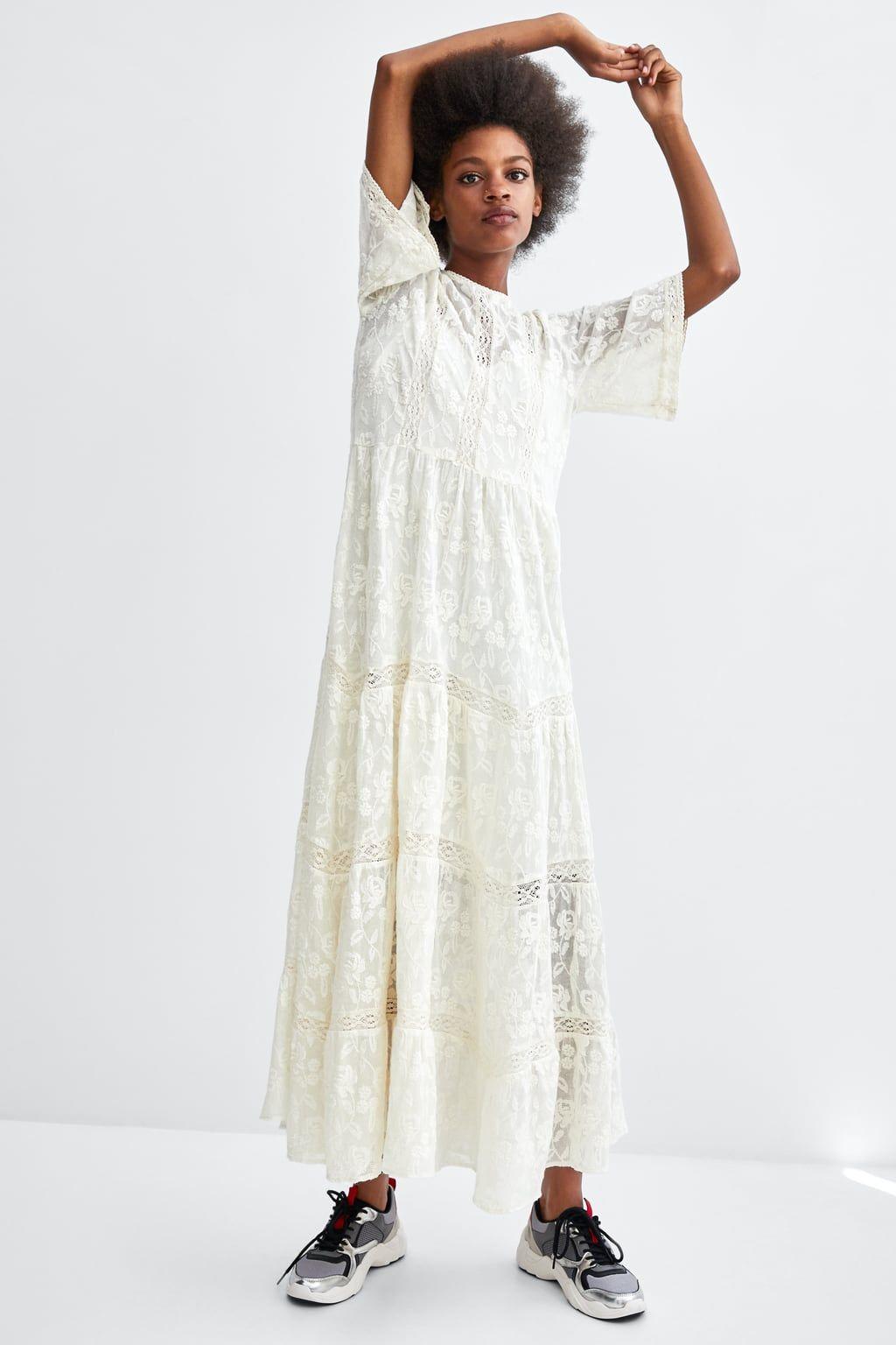 Embroidered romantic dress | Zara wedding dress, Romantic