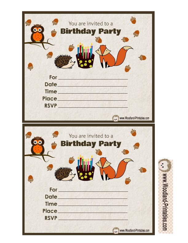 Woodland Birthday Invitation Featuring Cute Owl Fox And Hedgehog