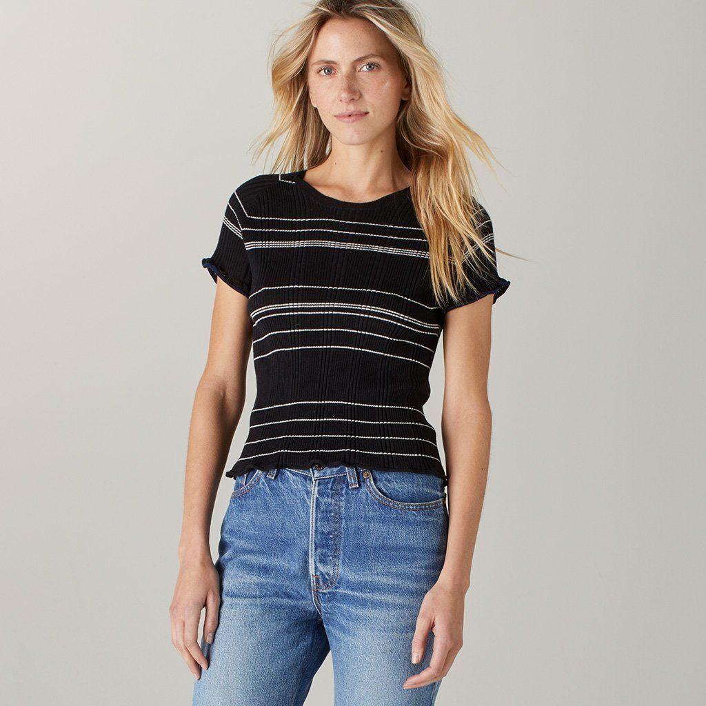 9ae2a06c368f8c Strega Striped Cotton Short Sleeve Top Onyx Onyx