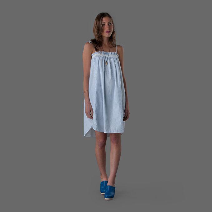 Gallego Desportes Spaghetti Straps Dress in Blue Stripes
