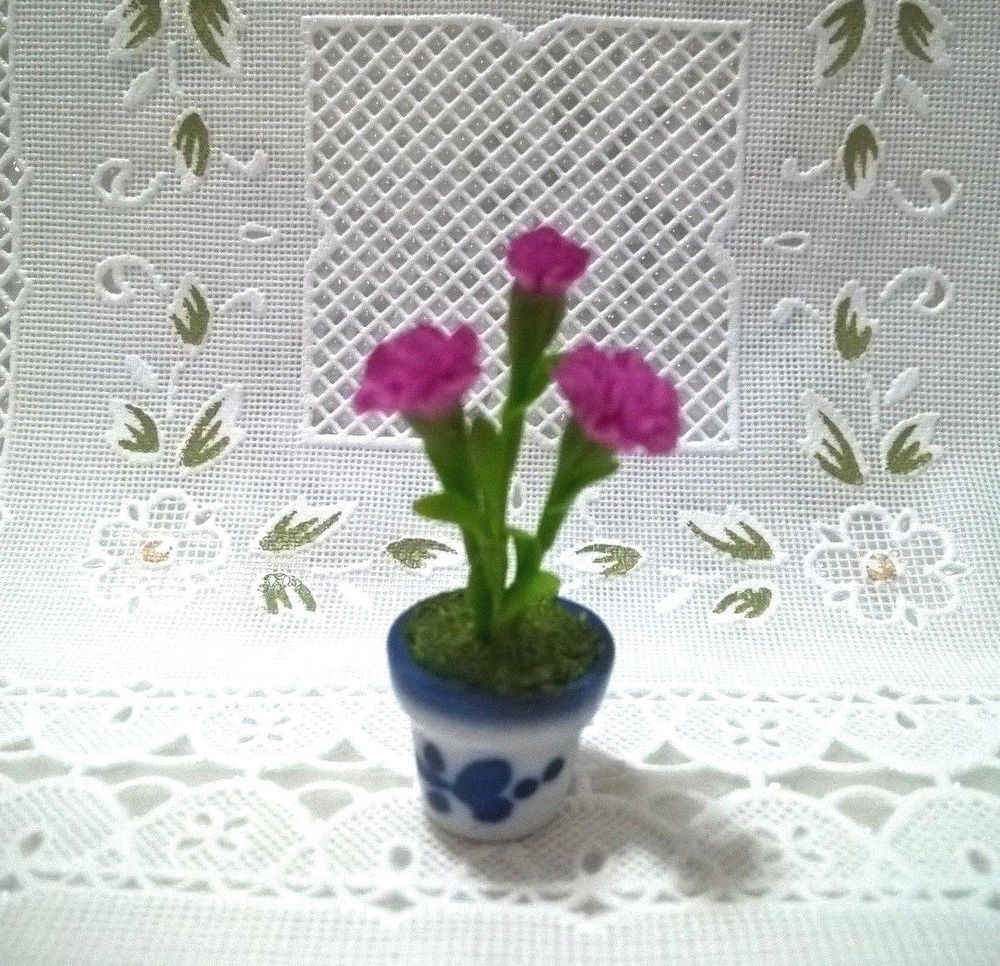 White Dish Purple Orchid Flower Printed Miniatures Kitchenware /& Tableware Decor
