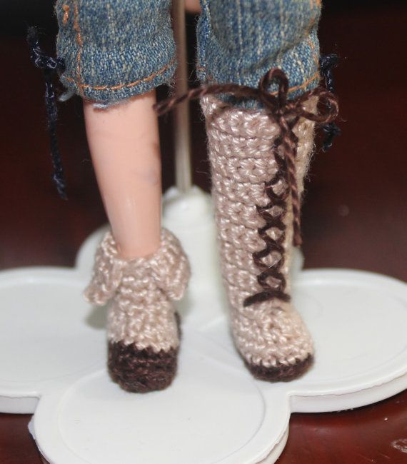3d5e05ccb5d2c Crochet Pattern Blythe / Barbie 6 Boots and Shoes PDF | doll clothes ...