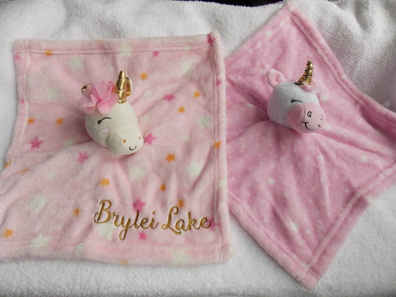 Lovey Blanket Personalized Baby Girl Gift Security Blanket Unicorn Lovey Unicorn Baby Blanket #securityblankets