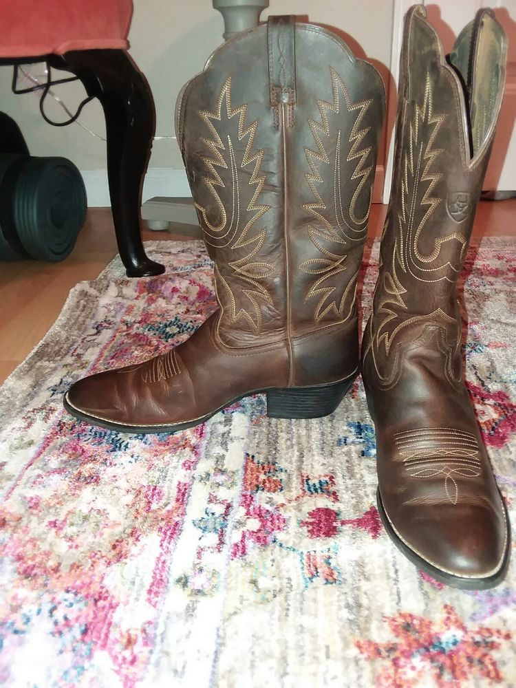 146a43927c1 Ariat Womens Heritage R Toe Cowboy Western Boot Distressed Brown ...