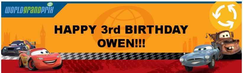 Disney Cars 2 Personalized Birthday Banner 18 x 61 3rd