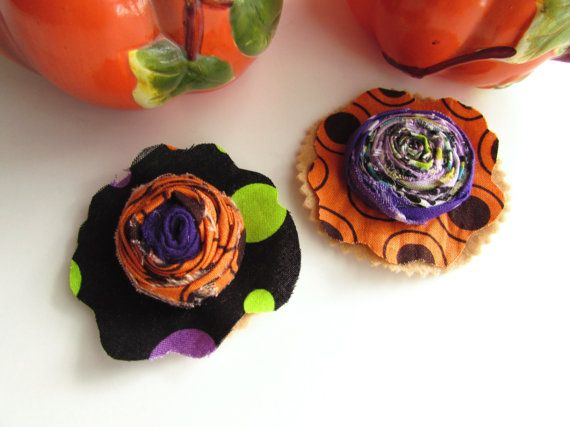 Fall Rosettes Fabric appliques Braided flowers by Itsewbella