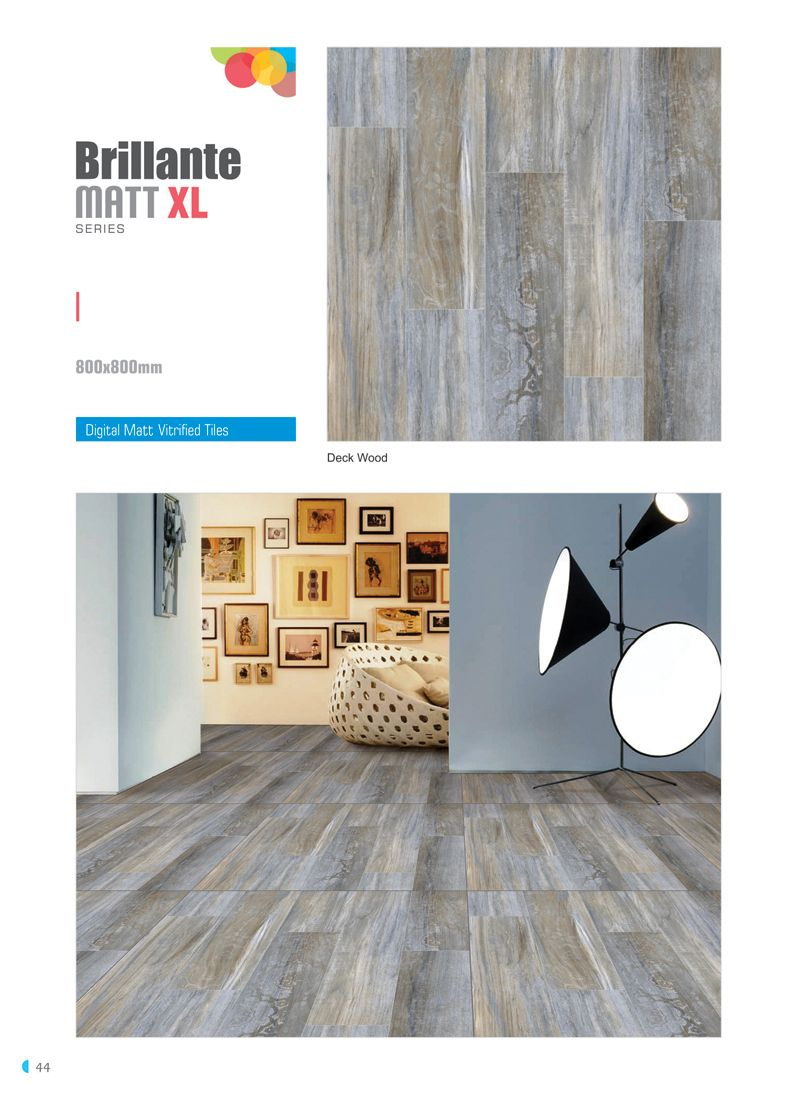 "Millennium Tiles 800x800mm (32x32) Vitrified Matt Porcelain XL Tiles Series ""Deck Wood"""