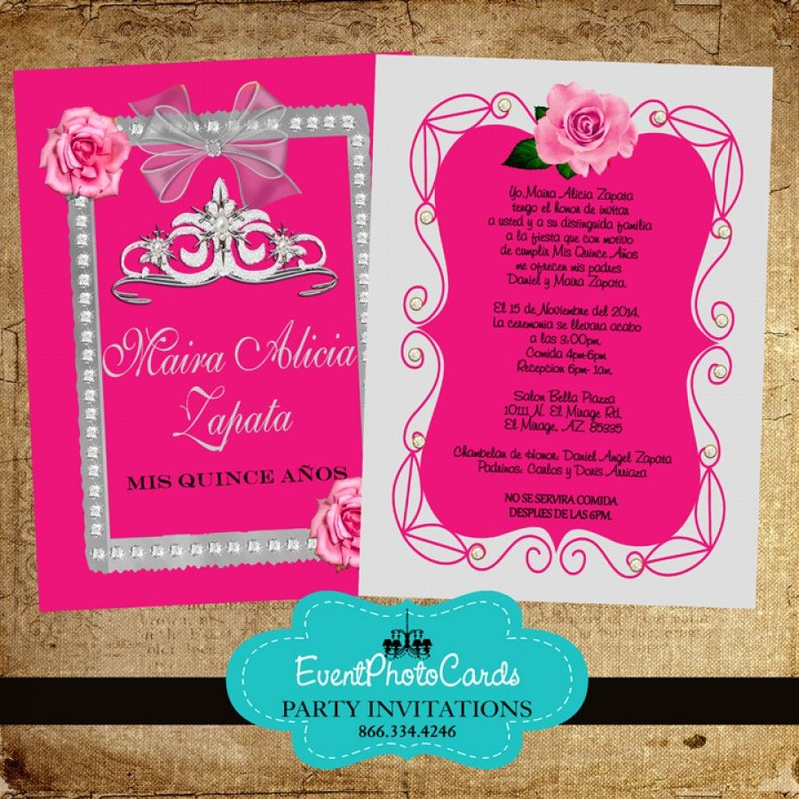 Pink Roses & Silver Quinceanera Invitations With Back