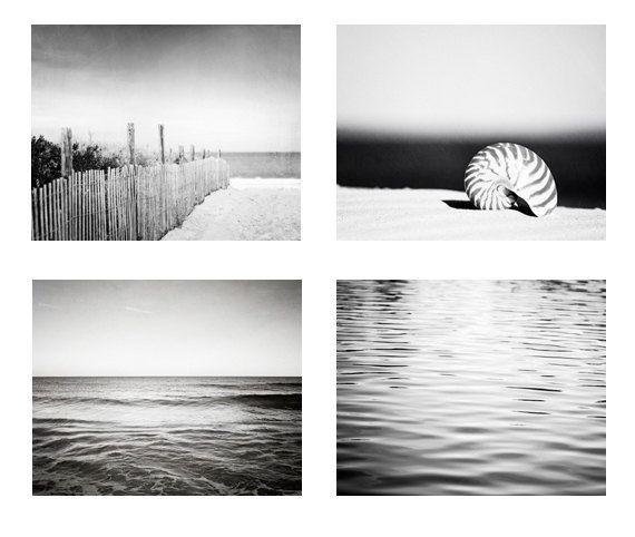 Coastal black and white photo set beach ocean photographs 4 dark grey gray prints modern nautical photography sea seashore wall art