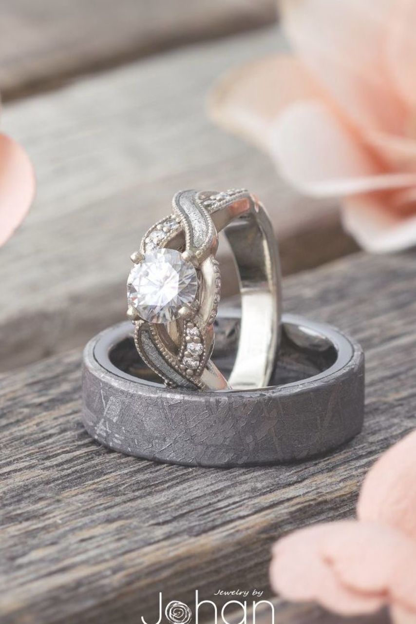 Wear A Real Meteorite With This Matching Wedding Ring Set