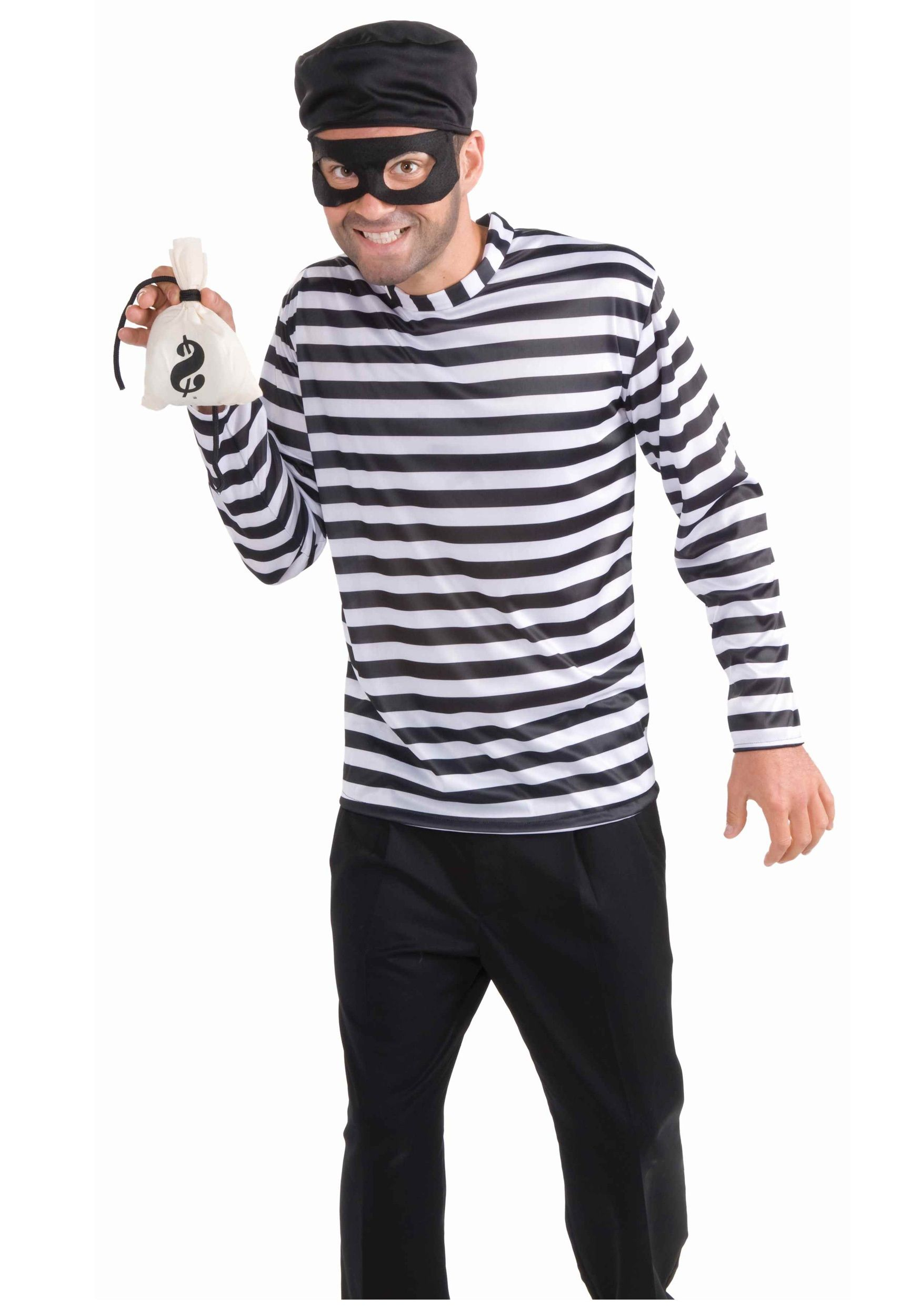 Adult Burglar Bank Robber Halloween Costume Kit Striped Shirt Eyemask Loot Bag
