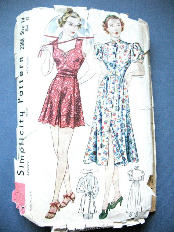 bf83ec4570 1930s Playsuit and Beach Dress Simplicity 2388 Vintage Sewing Pattern  Fitted Bodice Bust 32 inches
