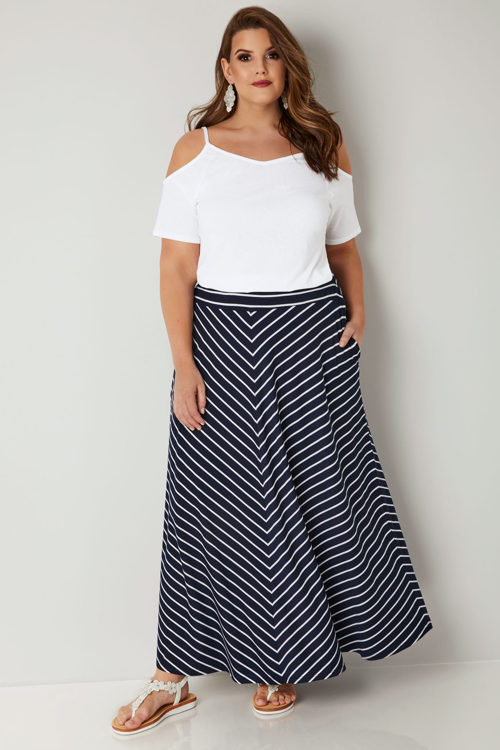 attractive price newest collection so cheap Navy & White Striped Maxi Skirt, Plus size 16 to 36 ...