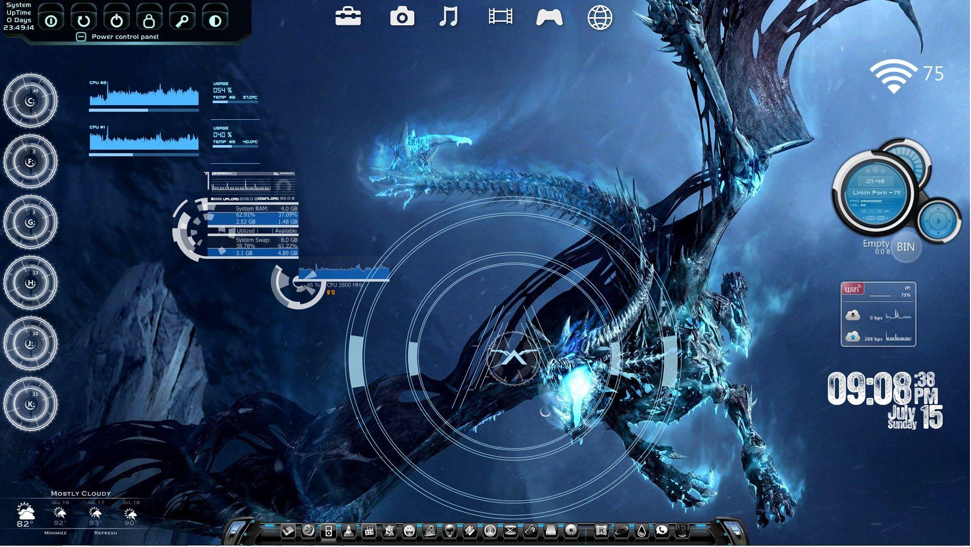 Targeting The Bone Dragon Rainmeter Desktop by ionstorm01 | Skins
