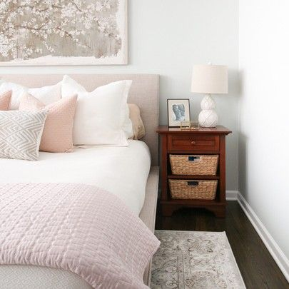White, gray, cream, and BLUSH! Absolutely obsessed with the color palette in my mom's new bedroom. Come check out this tranquil and stunning space today on the blog! -C   Shop this room here http://liketk.it/2uiMa #liketkit @liketoknow.it @liketoknow.it.home #LTKhome