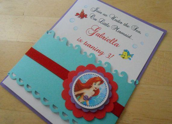 Disney Little Mermaid Inspired Handmade Invitations Under the Sea