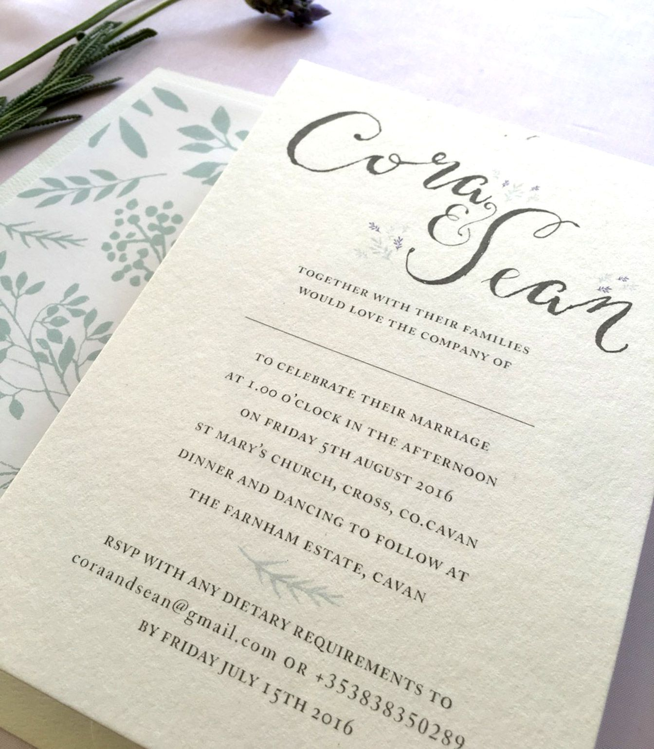 Calligraphy Wedding Invitation Grey With At Touch Of Mint