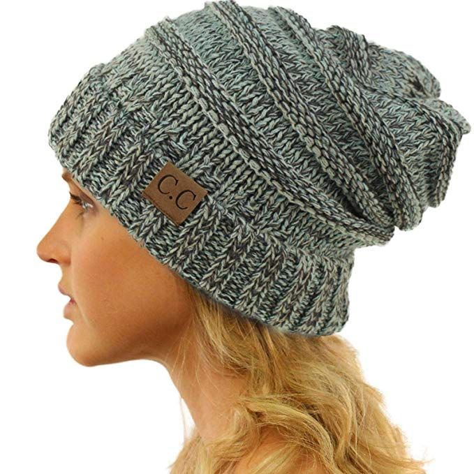 85d2ebe45d0 CC Winter Trendy Warm Oversized Chunky Baggy Stretchy Slouchy Skully Beanie  Hat Mix Mint