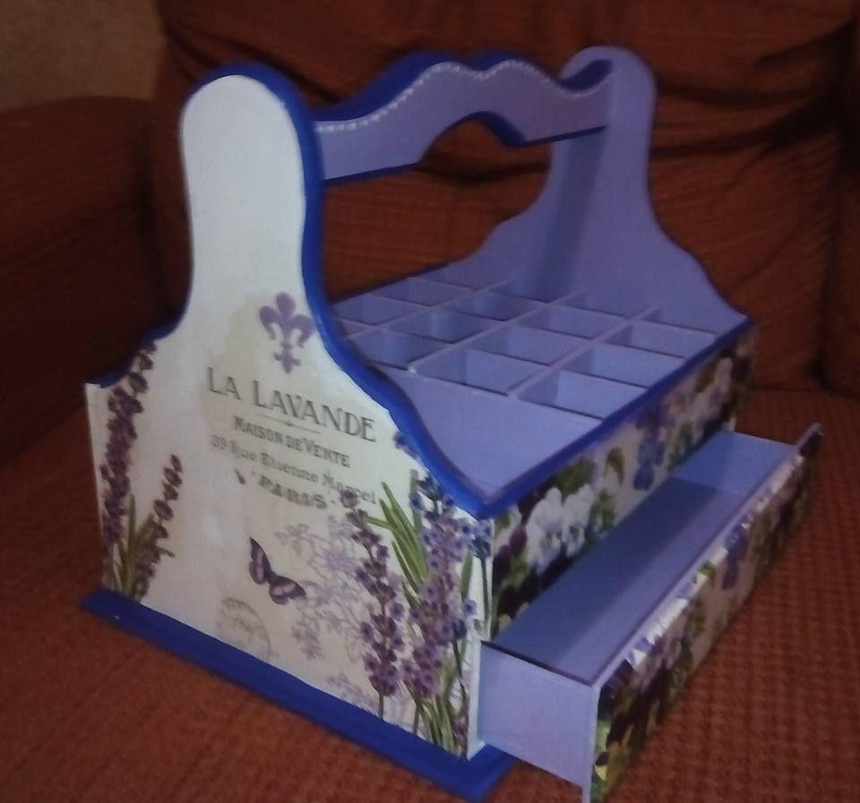 Porta esmalte de u as con caj n inferior decoupage sobre - Esmalte para madera ...