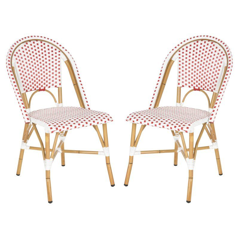 Outdoor Safavieh Salcha Stackable Dining Side Chair - Set of 2 Red and White - FOX5210C-SET2, Durable