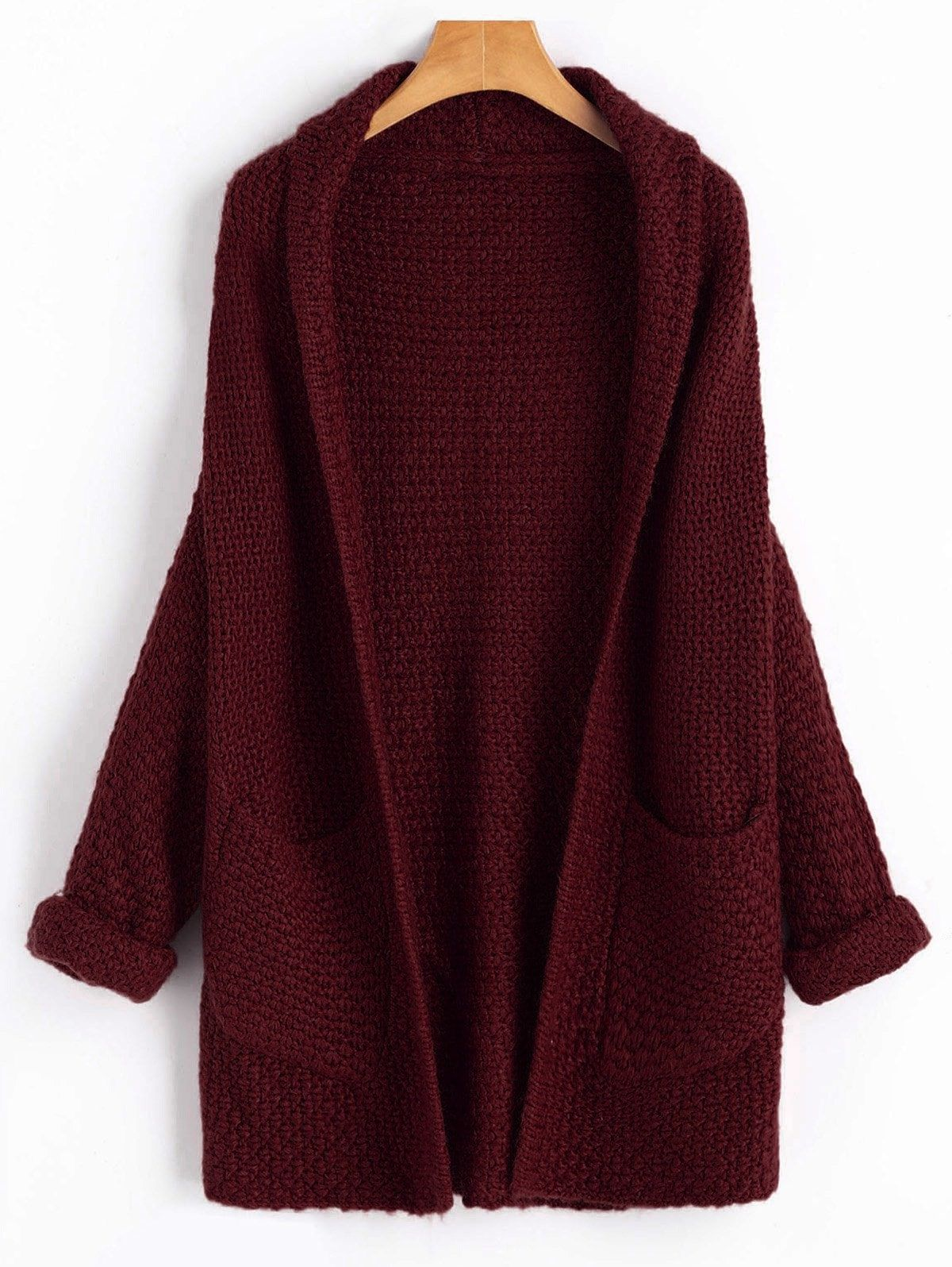 Pullover Long Lâche Tricot Chunky Poche Femme Open Front Outwear Manteau Cardigan