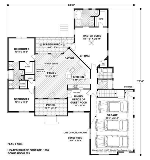 Traditional style house plans 1800 square foot home 1 for 1800 sq ft house plans one story