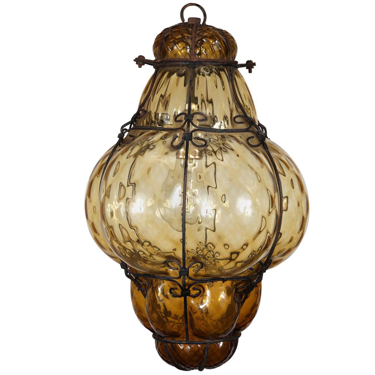Vintage hand blown seguso murano amber glass cage pendant light vintage hand blown seguso murano amber glass cage pendant light aloadofball Images