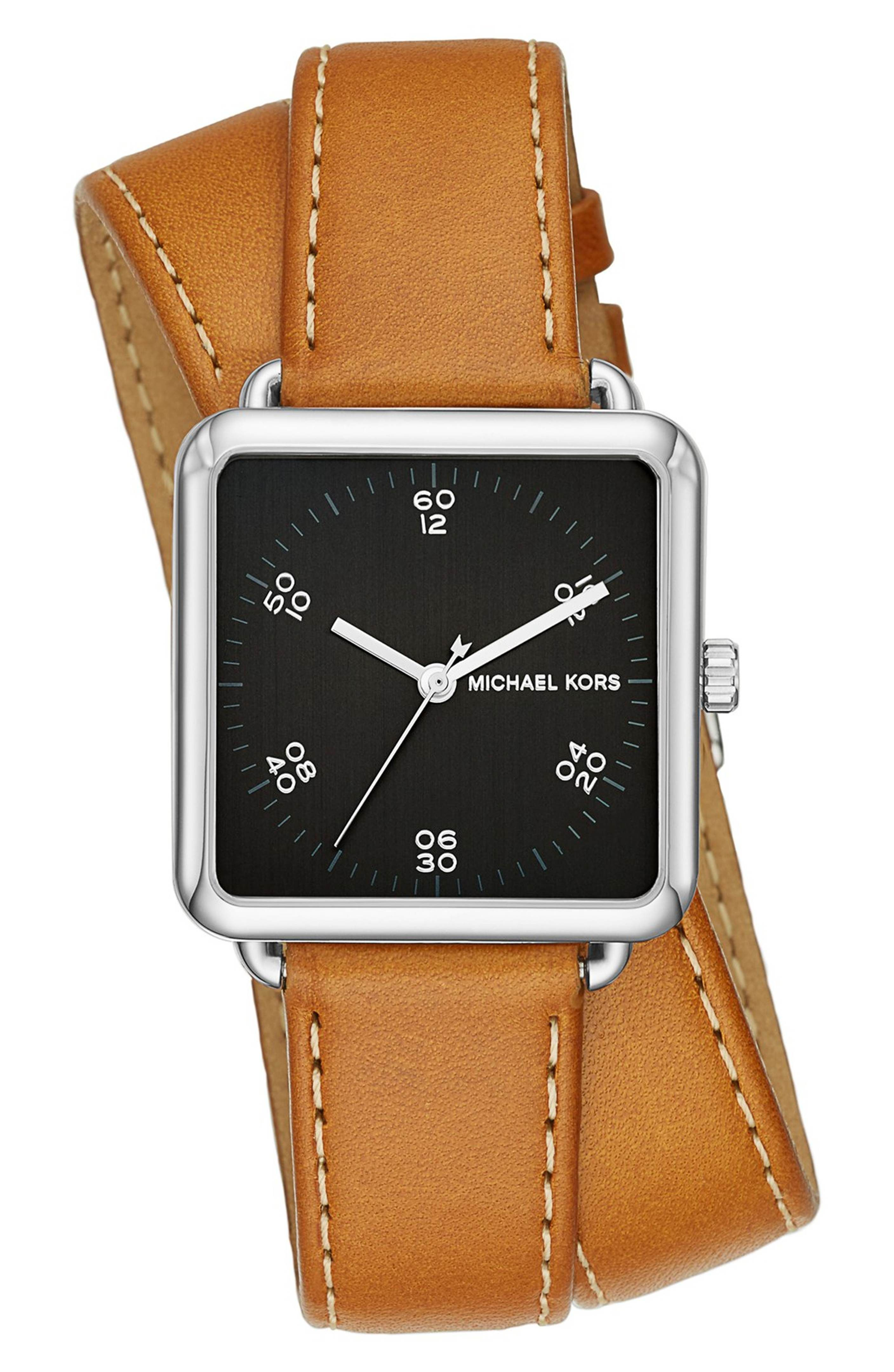 dc5758d4a1b9 Main Image - MICHAEL Michael Kors  Brenner  Square Leather Strap Watch