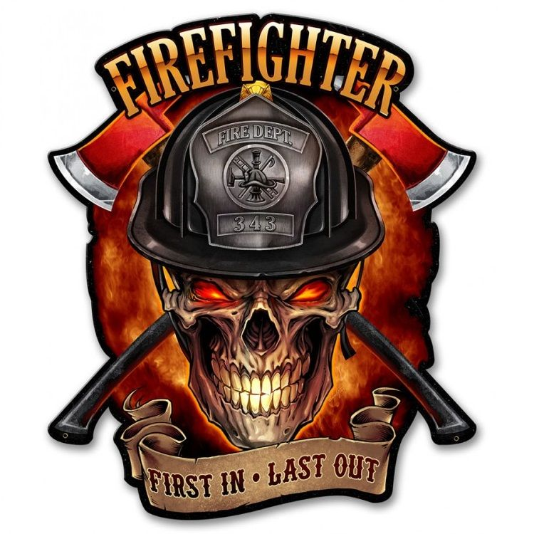 American Firefighter First In Last Out Tank Top Fireman Volunteer Fire Dept Gift