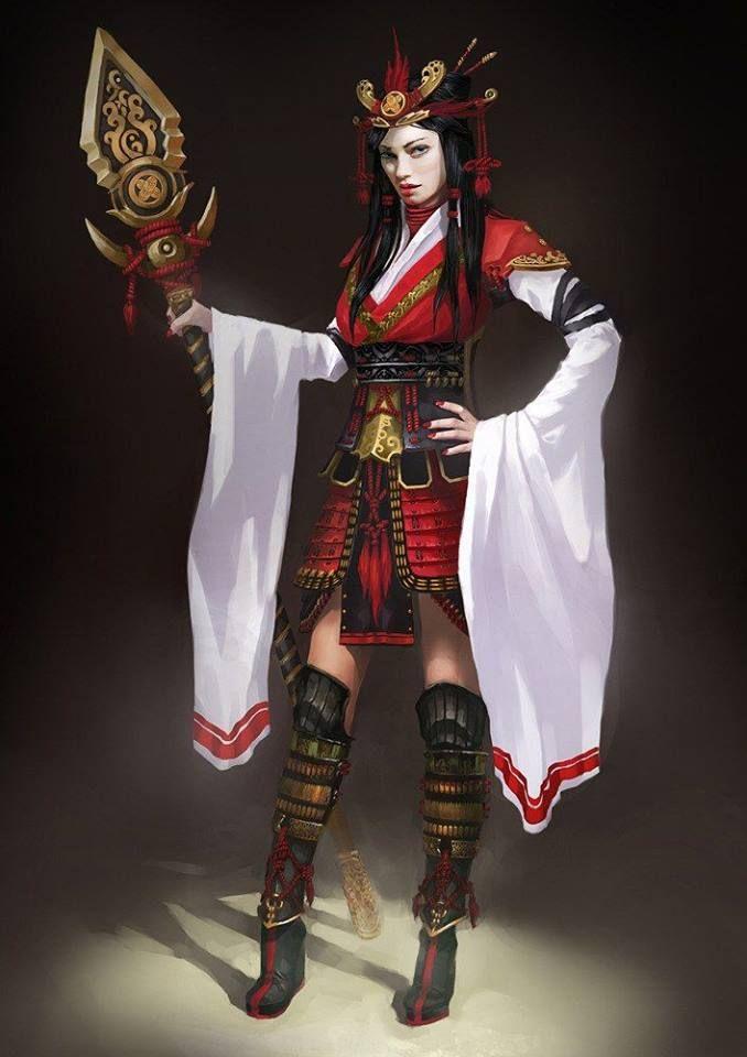 kimono  weibliche samurai krieger mädchen