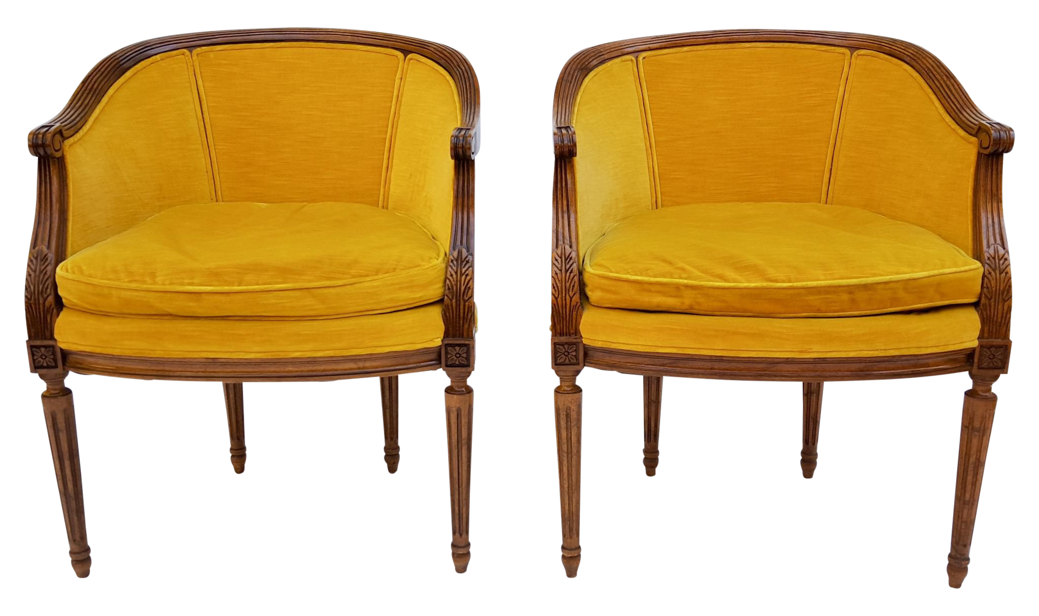 Lovely pair of vintage drexel heritage chairs circa 60s wood frames with beautiful detailing gold velvet upholstery in a classic french style
