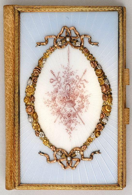 Notebook, St Petersburg, 1908–1917. C. Fabergé, Artist: H. Wigström; platinum, gold, silver, pearls, leather, paper, moiré, enamel on guilloché ground, painted enamel.