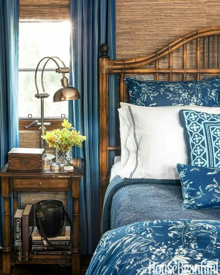 Bedroom Kandi Natasha Hall Home: Blue Curtains And Bedspread With Brown Grasscloth