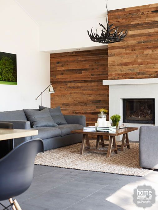 Nature study a feature wall of recycled timber boards Fireplace feature wall colour