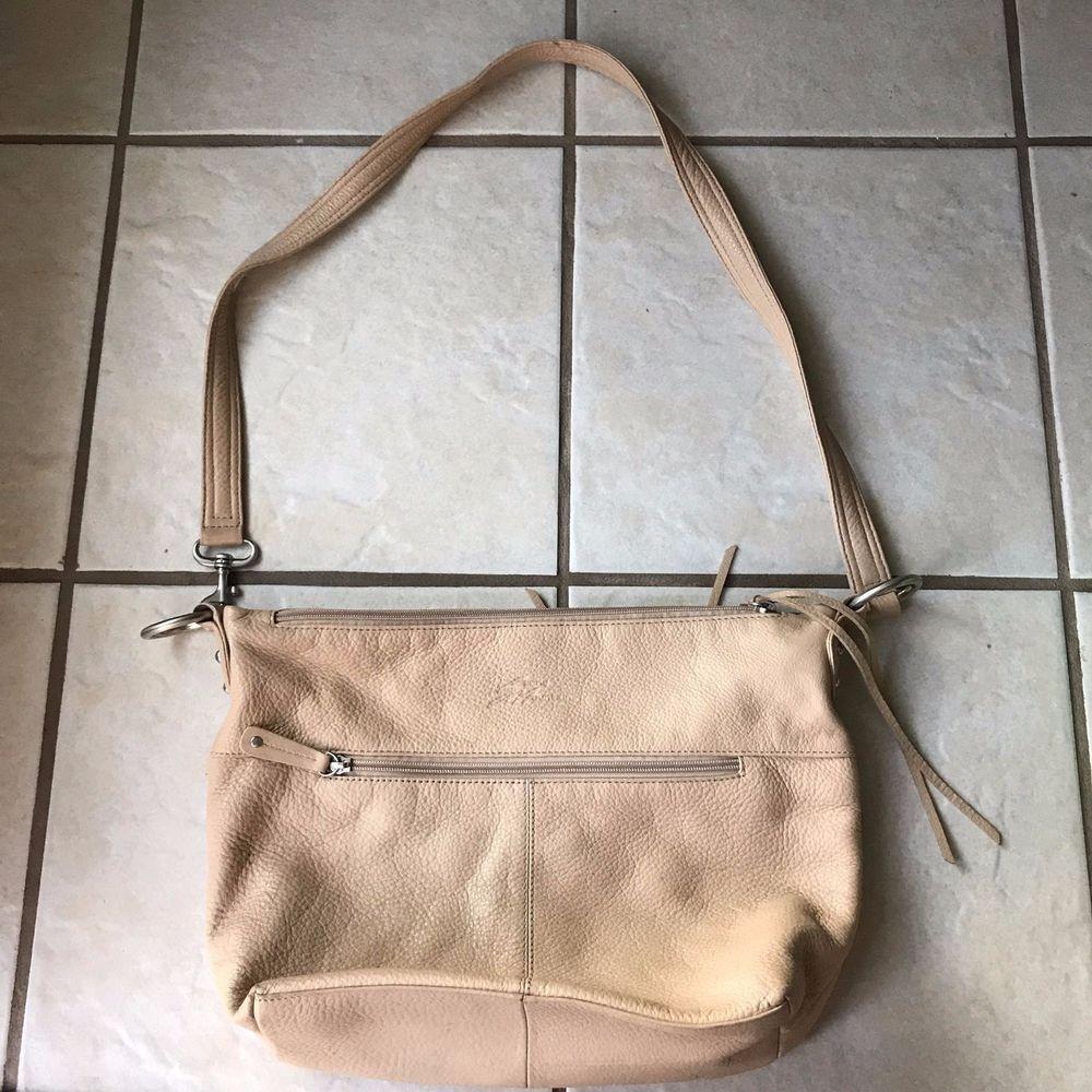 Stone Mountain Butter Beige Soft Leather Multi Zip Pocket Shoulder Bag Purse  #StoneMountain #ShoulderBag