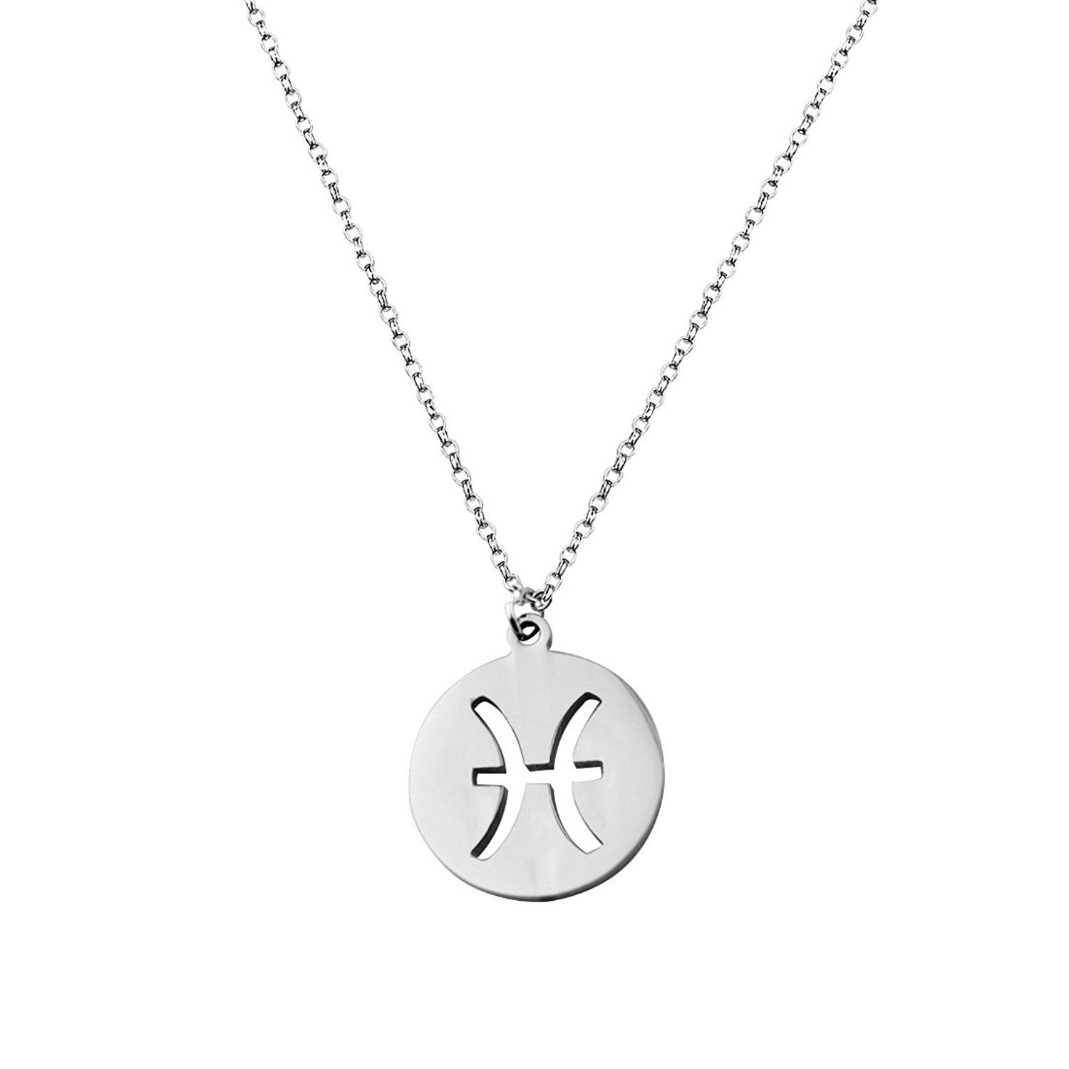 Birthday gift zodiac signs cut out disc necklace horoscope zodiac