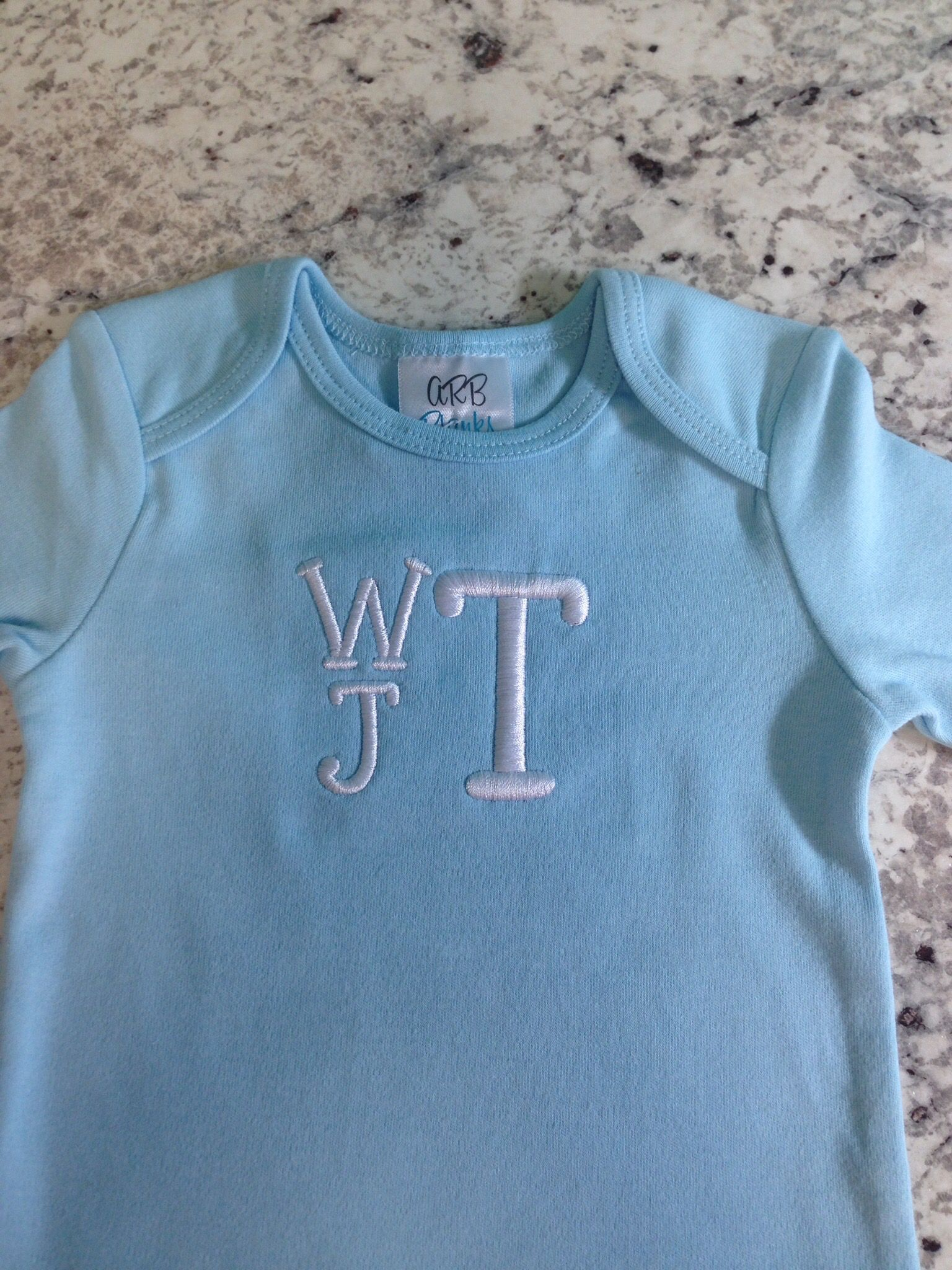 Little boy 03 month gown with monogram. We ship