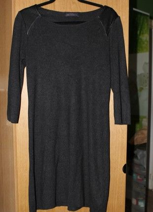 1599763d9 M S Dark grey jumper dress with faux leather panels UK size 12 ...