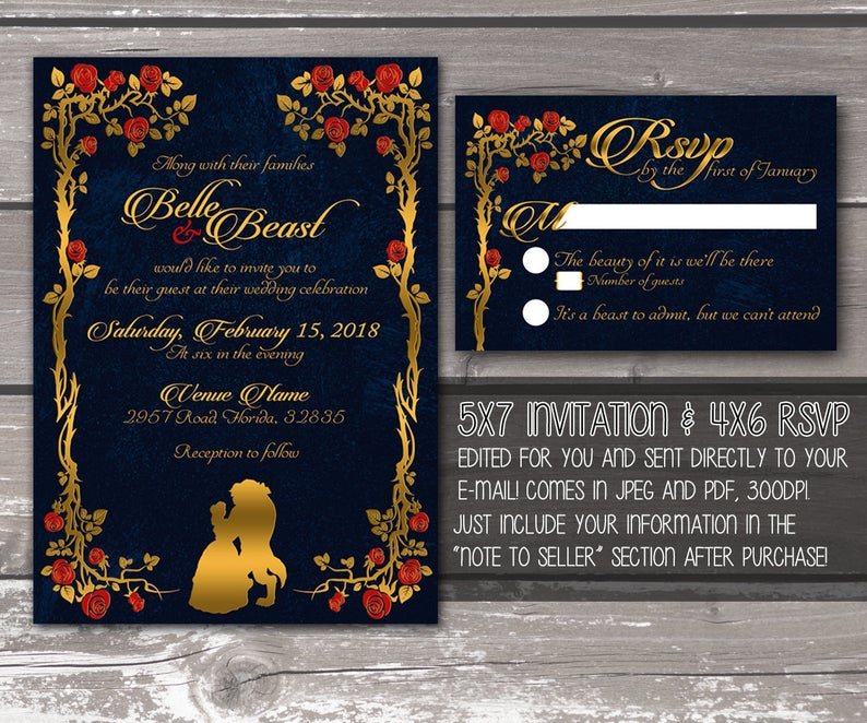 Beauty and the Beast Printable Wedding Invitation — DIGITAL PRODUCT / DIY Invite / Fairy Tale / Disney / Gold and Navy / rsvp / quinceanera