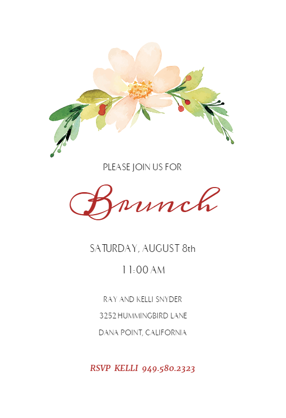 Pink Flower Free Brunch Lunch Invitation Template Greetings Island Brunch Invitations Flower Birthday Invitations Lunch Invitation